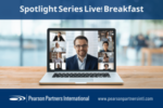 image of Pearson Partners Spotlight Series Live virtual breakfast banner with laptop virtual meeting